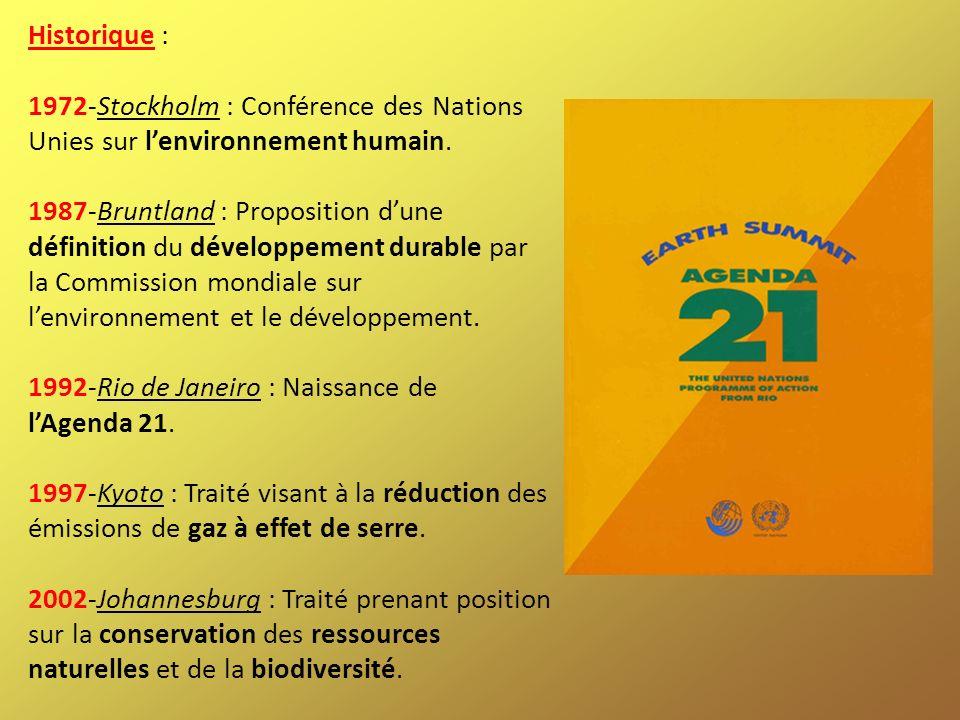 Historique : 1972-Stockholm : Conférence des Nations Unies sur lenvironnement humain. 1987-Bruntland : Proposition dune définition du développement du