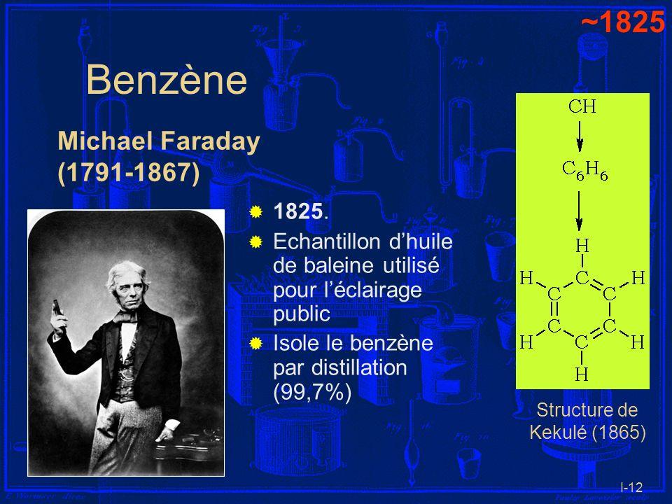 I-12 Benzène 1825. Echantillon dhuile de baleine utilisé pour léclairage public Isole le benzène par distillation (99,7%) Michael Faraday (1791-1867)