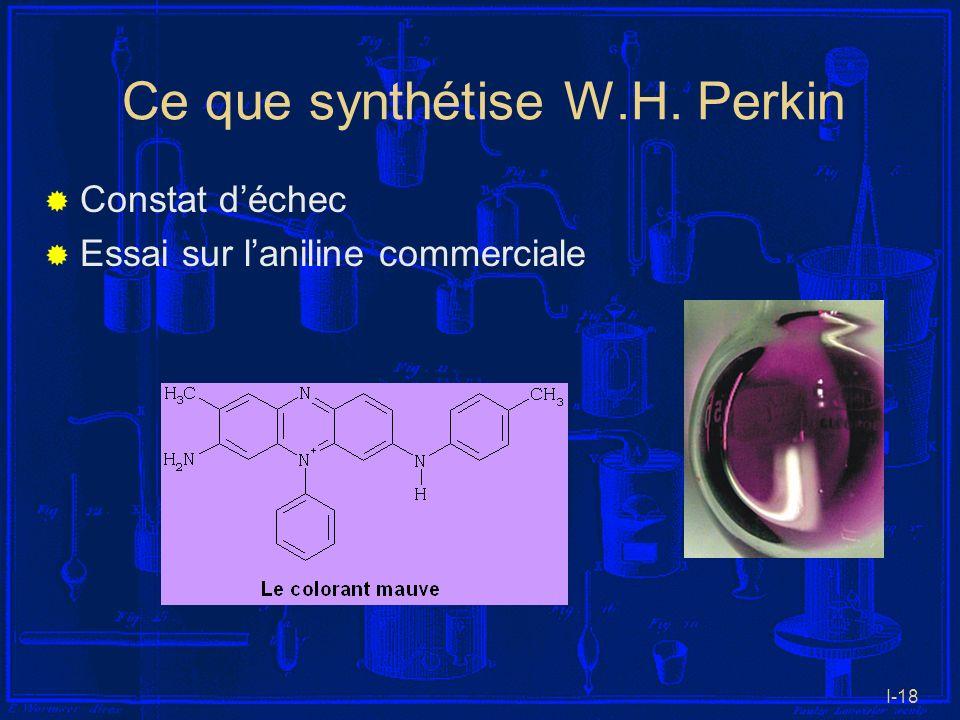 I-18 Ce que synthétise W.H. Perkin Constat déchec Essai sur laniline commerciale