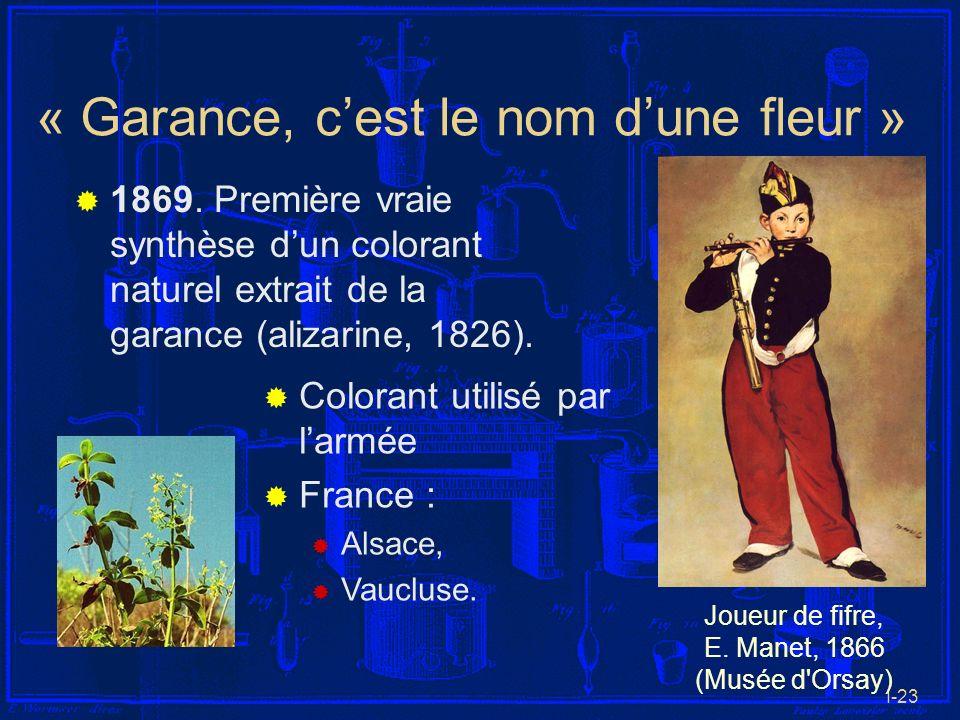 I-23 « Garance, cest le nom dune fleur » 1869. Première vraie synthèse dun colorant naturel extrait de la garance (alizarine, 1826). Joueur de fifre,