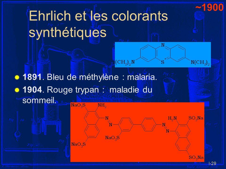 I-29 Ehrlich et les colorants synthétiques 1891. Bleu de méthylène : malaria. 1904. Rouge trypan : maladie du sommeil. ~1900