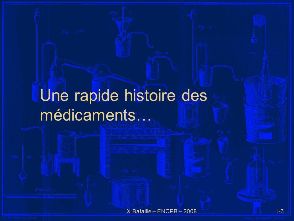 X.Bataille – ENCPB – 2008I-3 Une rapide histoire des médicaments…