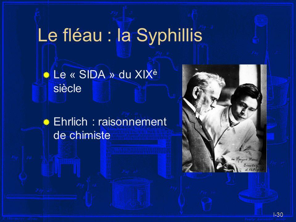 I-30 Le fléau : la Syphillis Le « SIDA » du XIX è siècle Ehrlich : raisonnement de chimiste