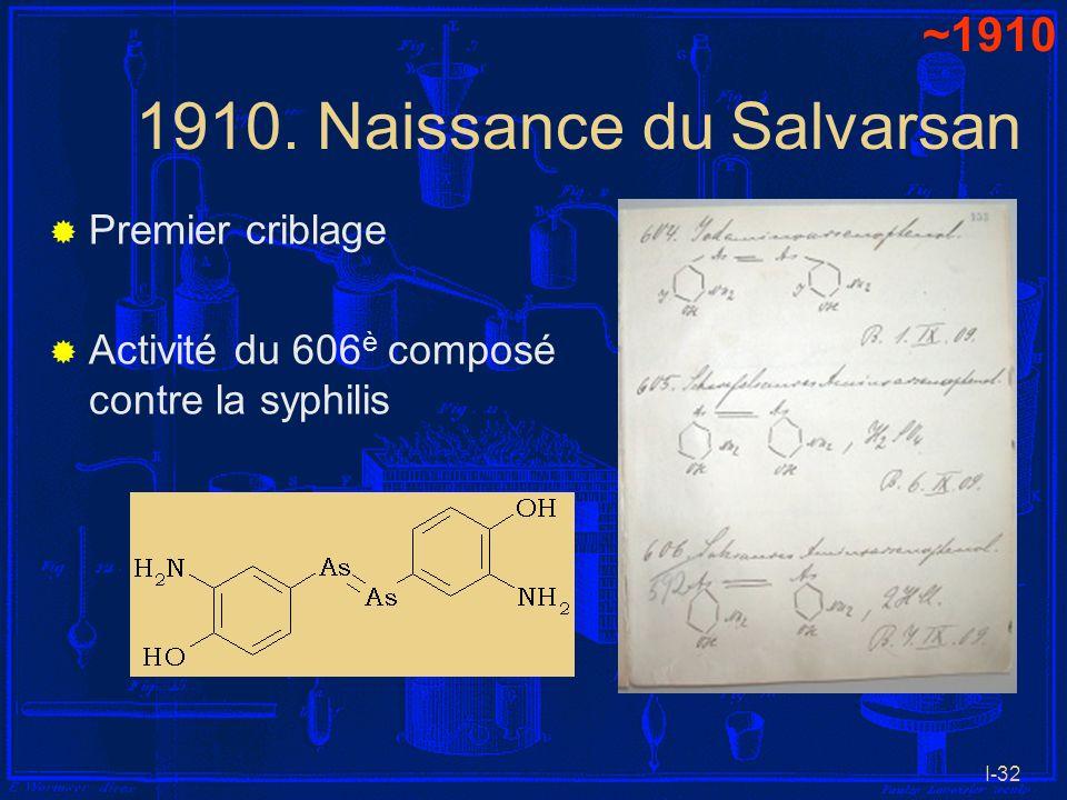 I-32 1910. Naissance du Salvarsan Premier criblage Activité du 606 è composé contre la syphilis ~1910