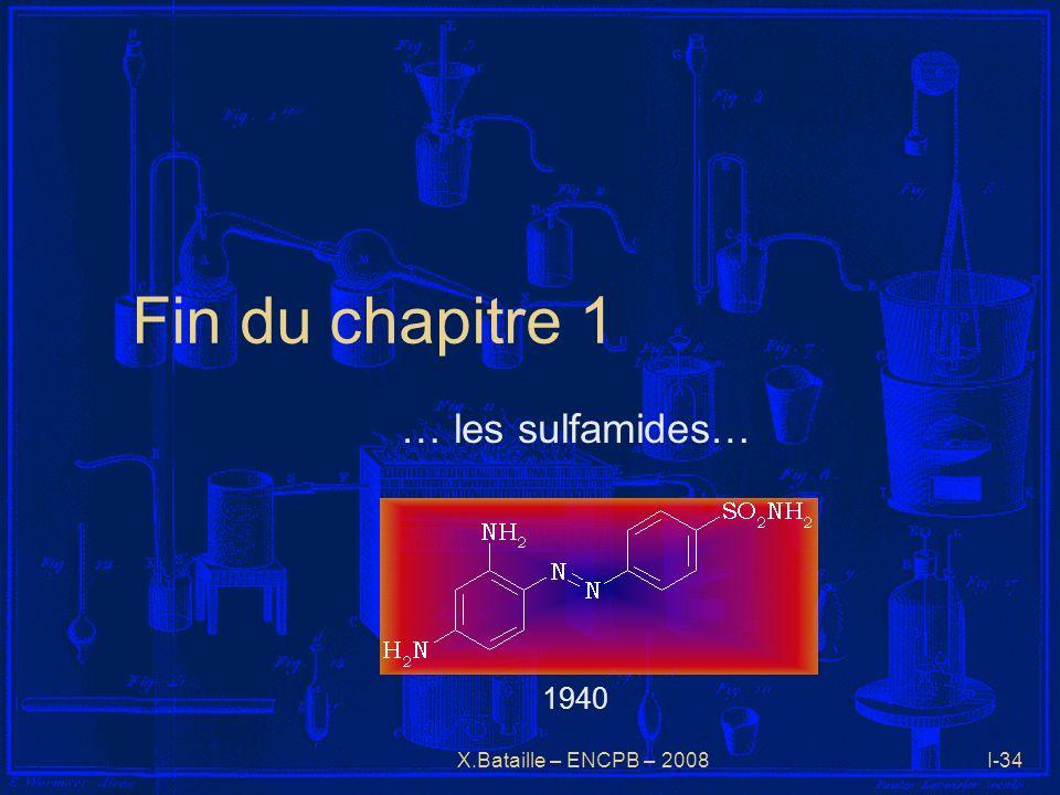 X.Bataille – ENCPB – 2008I-34 Fin du chapitre 1 … les sulfamides… 1940