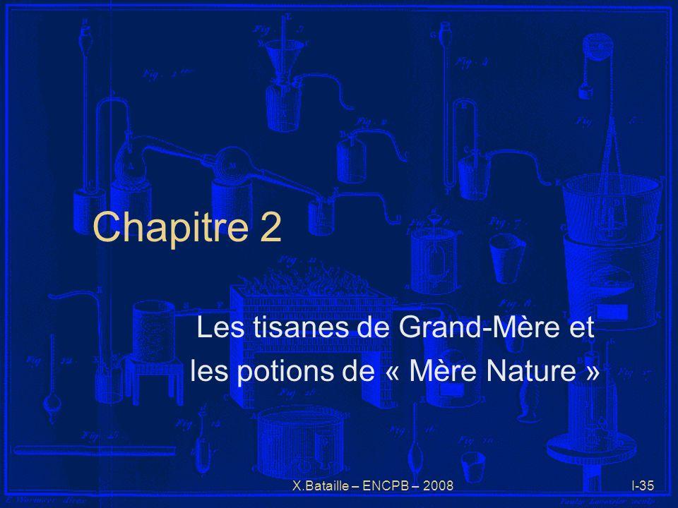 X.Bataille – ENCPB – 2008I-35 Chapitre 2 Les tisanes de Grand-Mère et les potions de « Mère Nature »