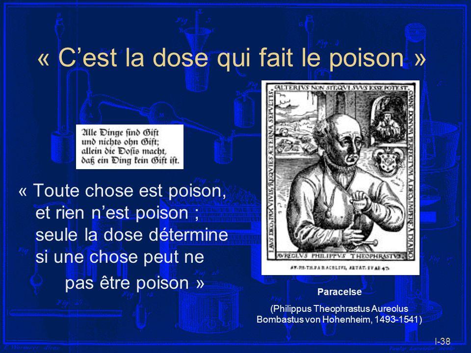 I-38 « Cest la dose qui fait le poison » « Toute chose est poison, et rien nest poison ; seule la dose détermine si une chose peut ne pas être poison
