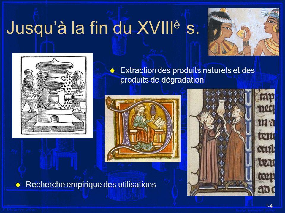 I-4 Jusquà la fin du XVIII è s. Extraction des produits naturels et des produits de dégradation Recherche empirique des utilisations