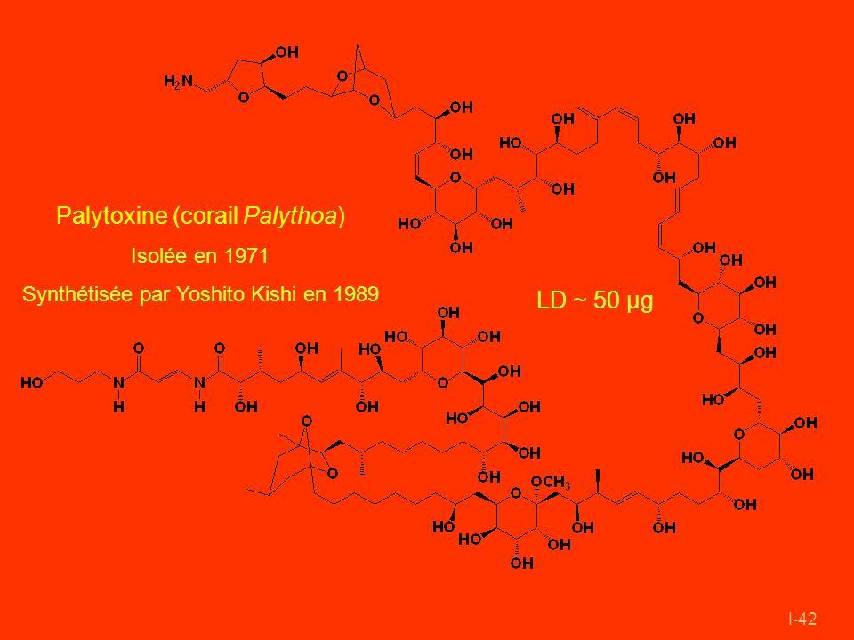 I-42 Palytoxine (corail Palythoa) Isolée en 1971 Synthétisée par Yoshito Kishi en 1989 LD ~ 50 µg