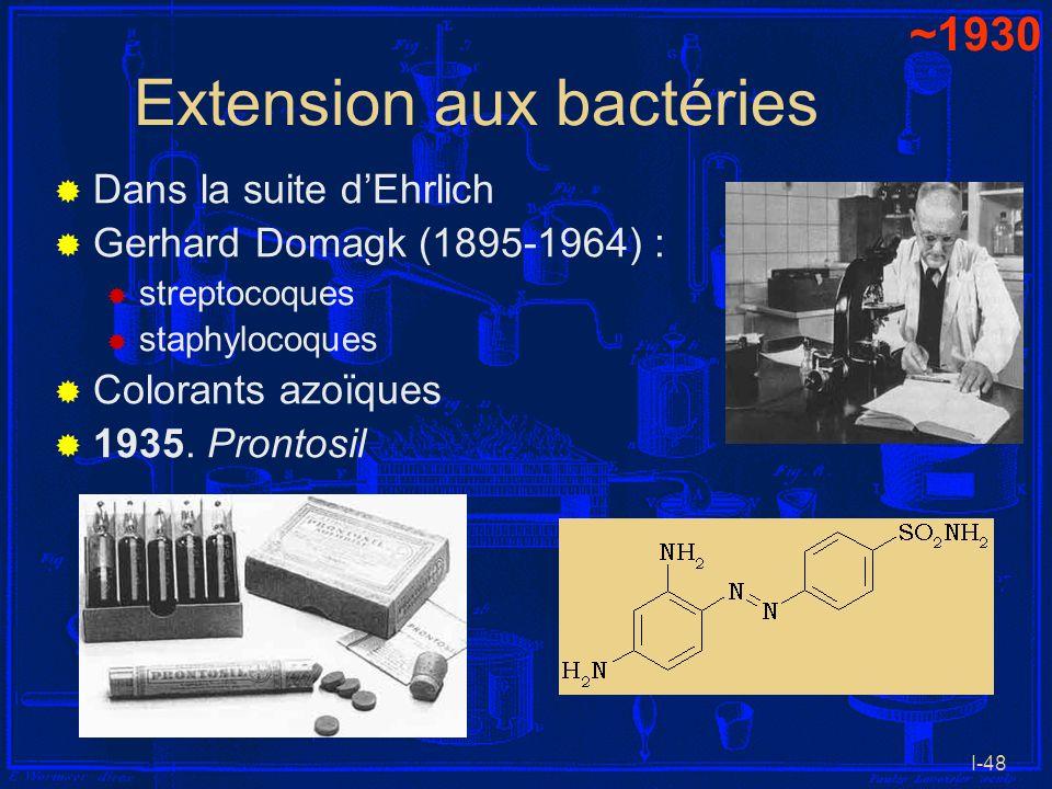 I-48 Extension aux bactéries Dans la suite dEhrlich Gerhard Domagk (1895-1964) : streptocoques staphylocoques Colorants azoïques 1935. Prontosil ~1930
