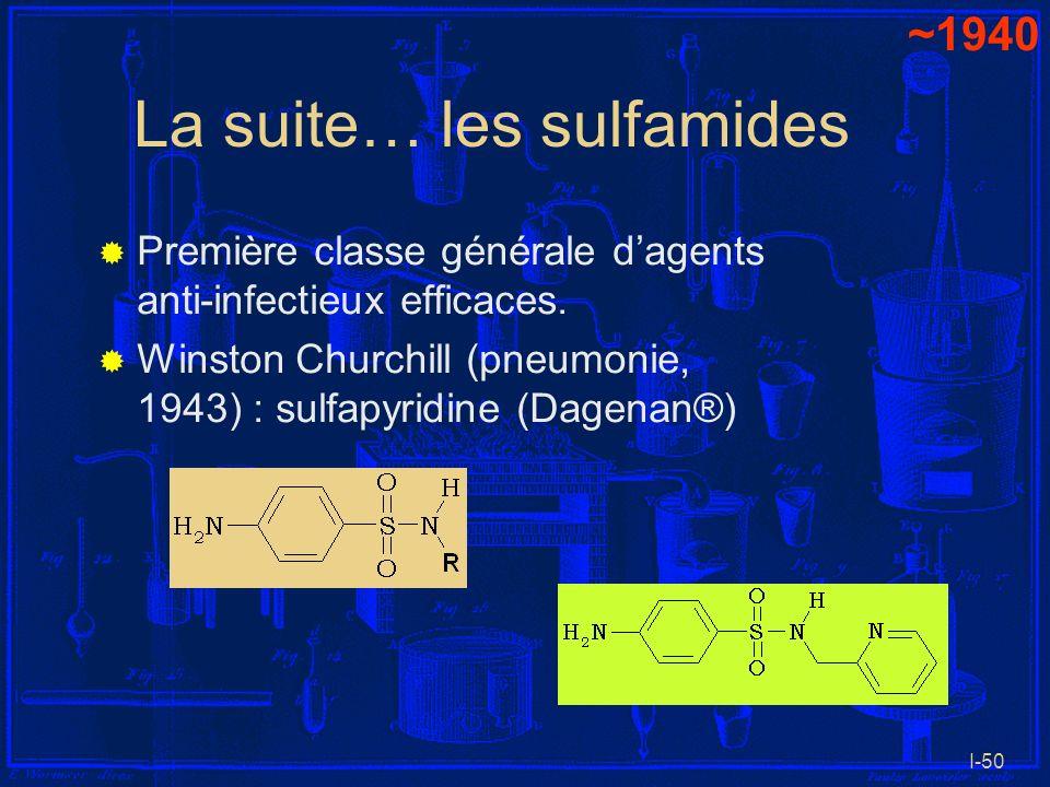 I-50 La suite… les sulfamides Première classe générale dagents anti-infectieux efficaces. Winston Churchill (pneumonie, 1943) : sulfapyridine (Dagenan