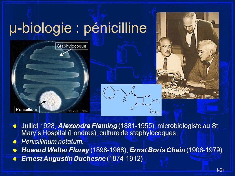 I-51 µ-biologie : pénicilline Juillet 1928, Alexandre Fleming (1881-1955), microbiologiste au St Marys Hospital (Londres), culture de staphylocoques.