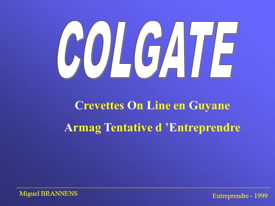 ARMemenet et MAReyage de Guyane Entreprise Guyanaise 50 MF de CA 80 Employés Activité: Pêche et vente de crevettes sauvages de Guyane Miguel BRANNENS Entreprendre - 1999