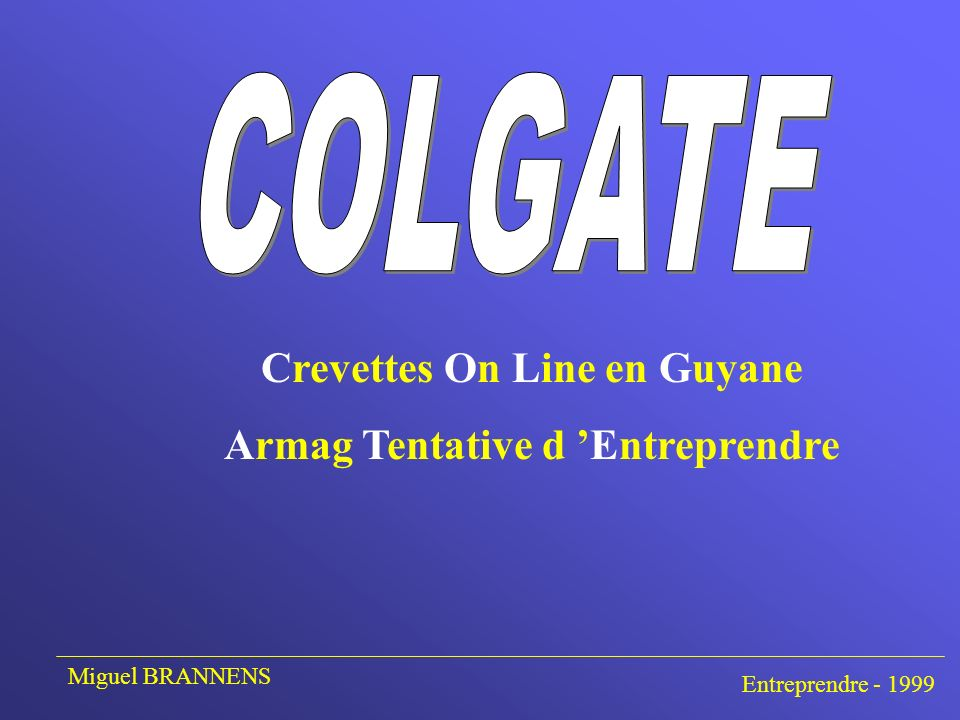 Crevettes On Line en Guyane Armag Tentative d Entreprendre Entreprendre - 1999 Miguel BRANNENS