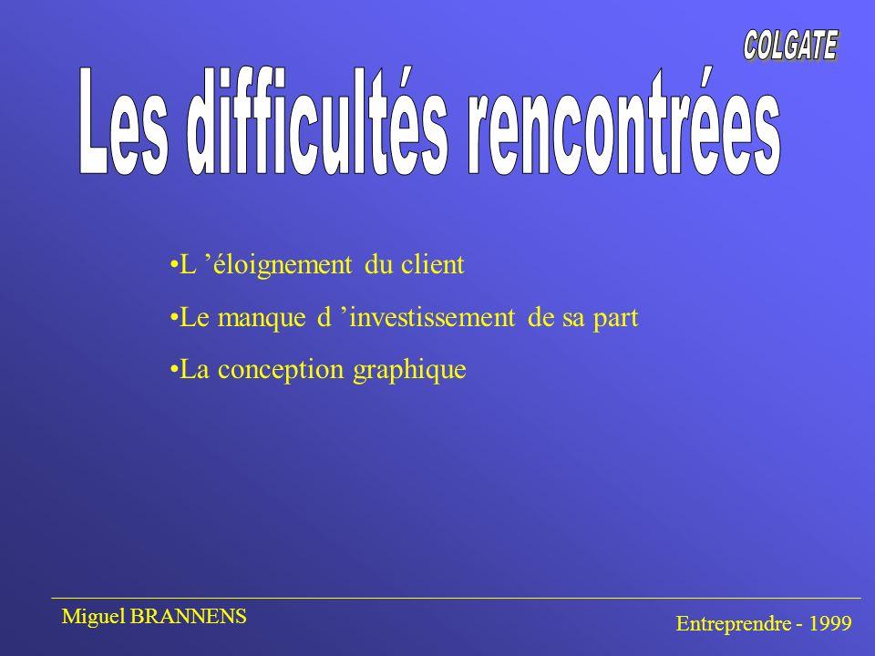 L éloignement du client Le manque d investissement de sa part La conception graphique Miguel BRANNENS Entreprendre - 1999