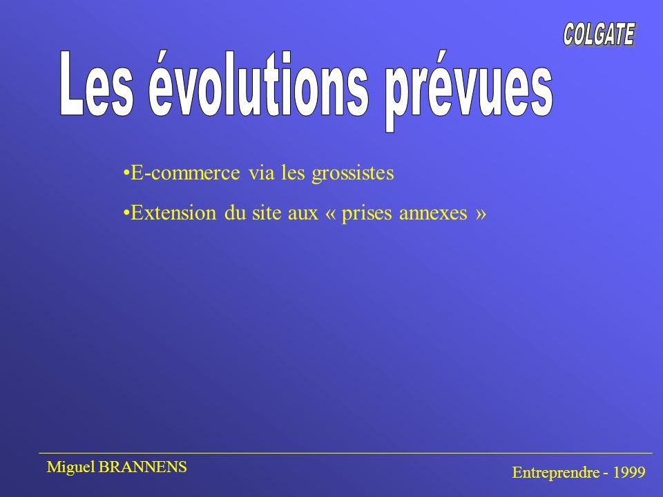 E-commerce via les grossistes Extension du site aux « prises annexes » Miguel BRANNENS Entreprendre - 1999