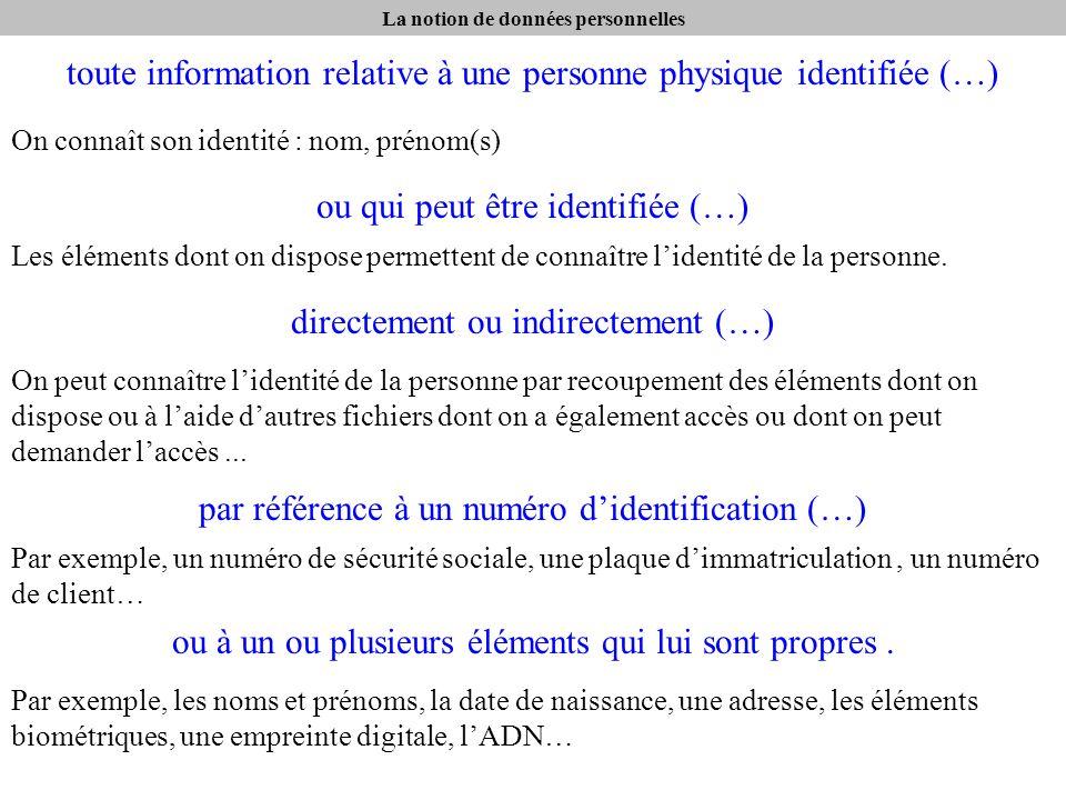 La notion de données personnelles toute information relative à une personne physique identifiée (…) On connaît son identité : nom, prénom(s) ou qui peut être identifiée (…) Les éléments dont on dispose permettent de connaître lidentité de la personne.