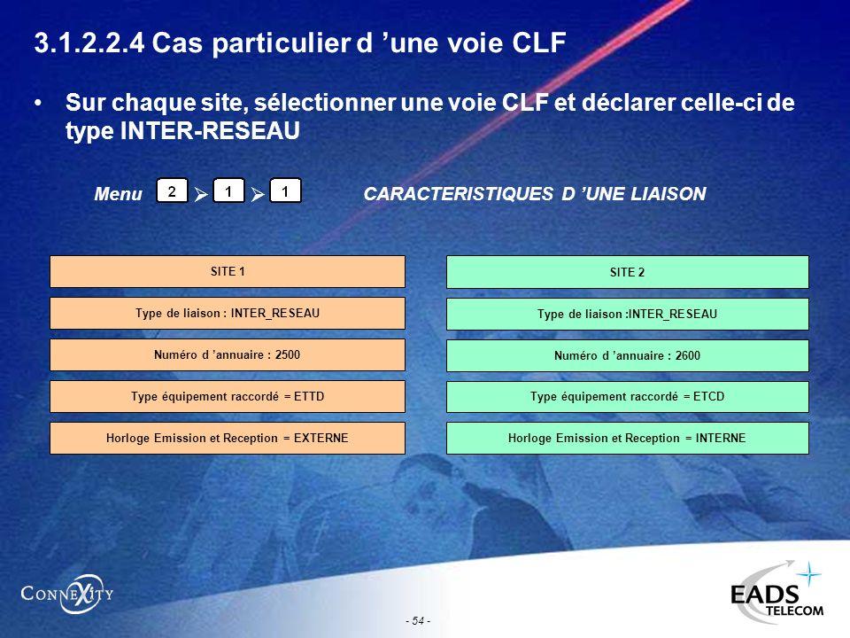 - 54 - 3.1.2.2.4 Cas particulier d une voie CLF Sur chaque site, sélectionner une voie CLF et déclarer celle-ci de type INTER-RESEAU MenuCARACTERISTIQ