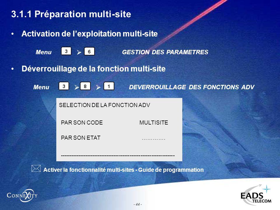 - 44 - 3.1.1 Préparation multi-site Activation de lexploitation multi-site Déverrouillage de la fonction multi-site Menu GESTION DES PARAMETRES Menu D