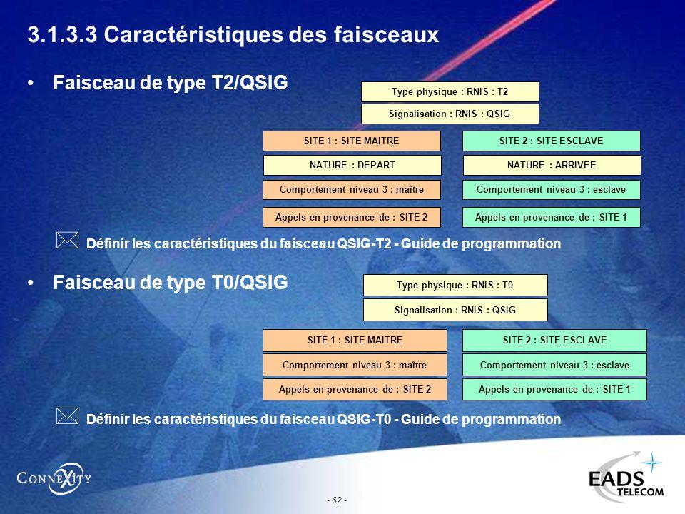 - 62 - 3.1.3.3 Caractéristiques des faisceaux Faisceau de type T2/QSIG Faisceau de type T0/QSIG Type physique : RNIS : T2 Signalisation : RNIS : QSIG