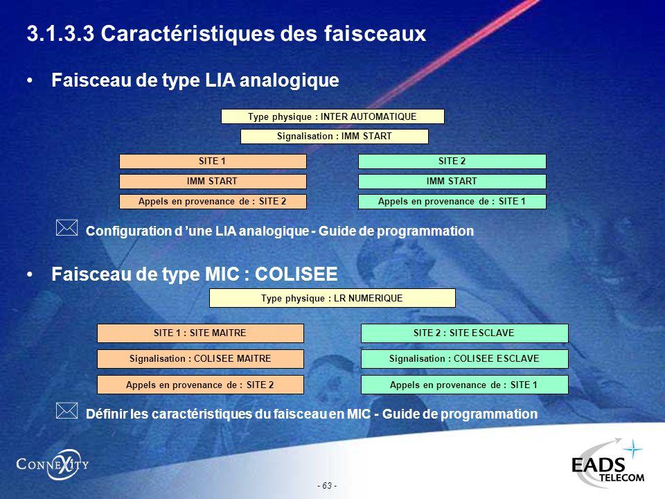 - 63 - 3.1.3.3 Caractéristiques des faisceaux Faisceau de type LIA analogique Faisceau de type MIC : COLISEE Type physique : INTER AUTOMATIQUE Signali
