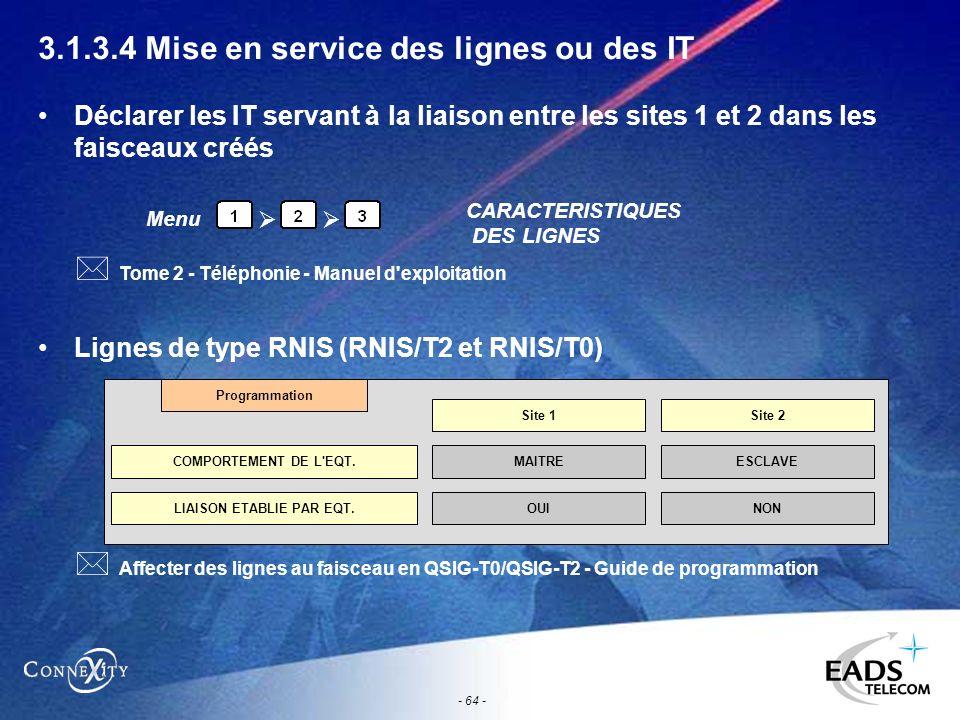 - 64 - 3.1.3.4 Mise en service des lignes ou des IT Déclarer les IT servant à la liaison entre les sites 1 et 2 dans les faisceaux créés Lignes de typ