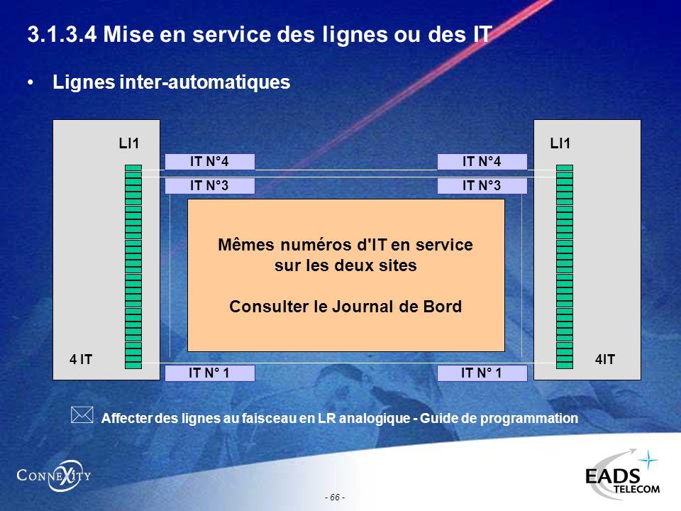 - 66 - 3.1.3.4 Mise en service des lignes ou des IT Lignes inter-automatiques LI1 4 IT LI1 4IT Mêmes numéros d'IT en service sur les deux sites Consul