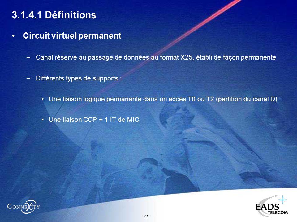 - 71 - 3.1.4.1 Définitions Circuit virtuel permanent –Canal réservé au passage de données au format X25, établi de façon permanente –Différents types