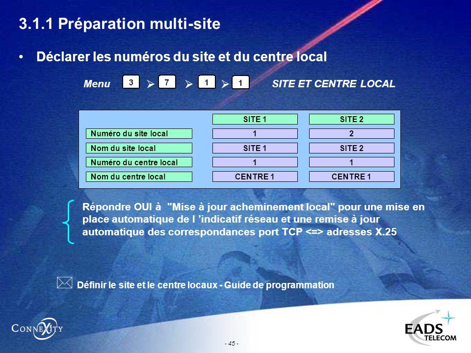 - 45 - 3.1.1 Préparation multi-site Déclarer les numéros du site et du centre local Répondre OUI à