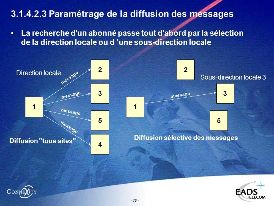 - 76 - 3.1.4.2.3 Paramétrage de la diffusion des messages La recherche d'un abonné passe tout d'abord par la sélection de la direction locale ou d une