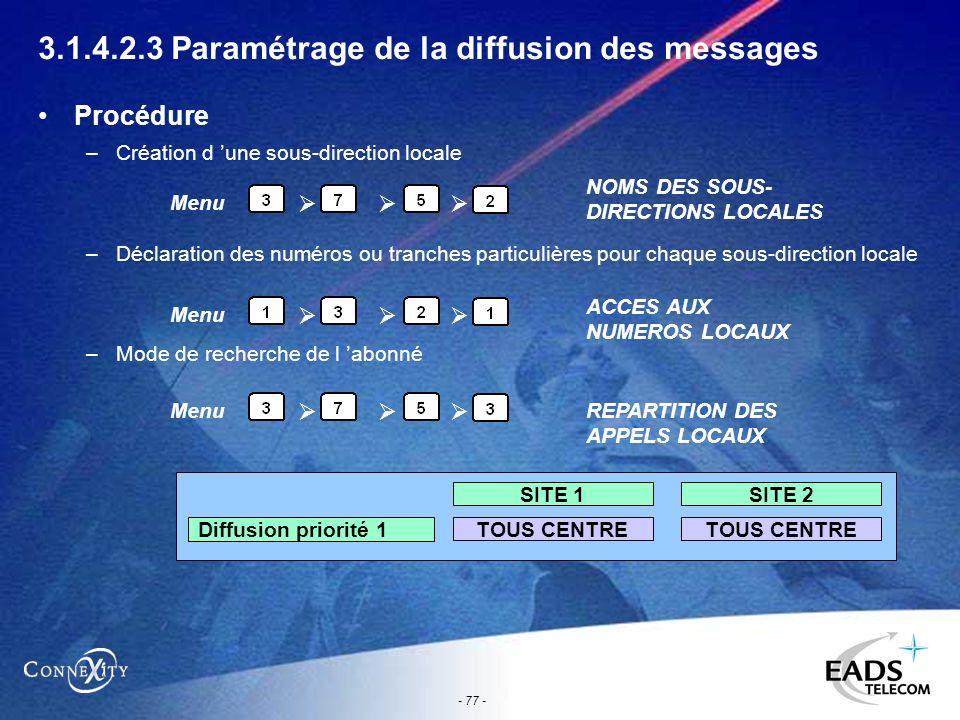- 77 - 3.1.4.2.3 Paramétrage de la diffusion des messages Procédure –Création d une sous-direction locale –Déclaration des numéros ou tranches particu