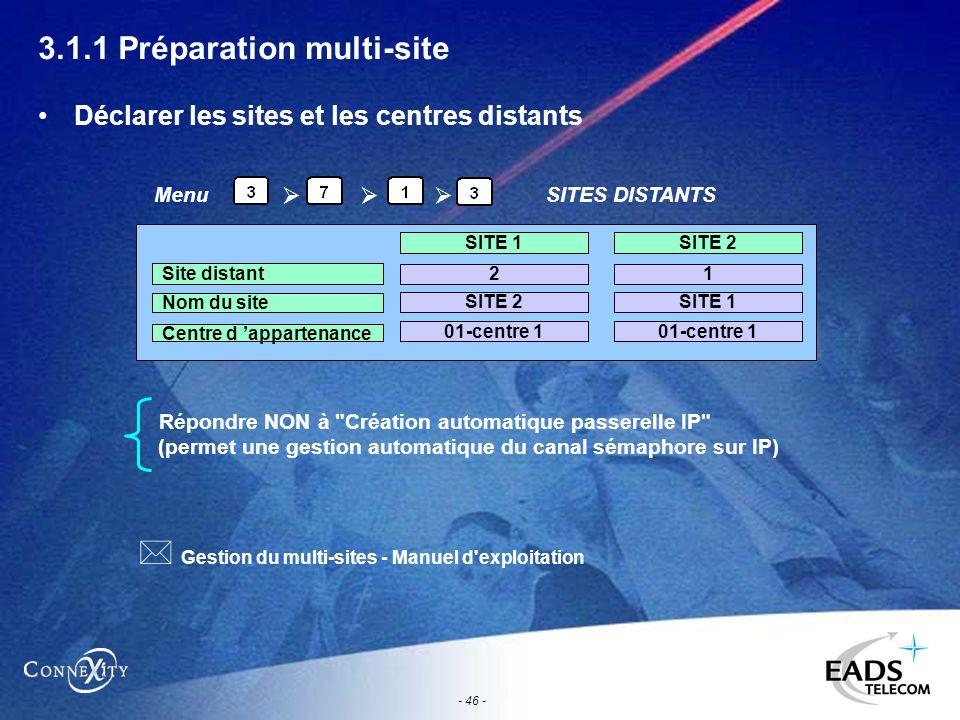 - 46 - 3.1.1 Préparation multi-site Déclarer les sites et les centres distants Répondre NON à