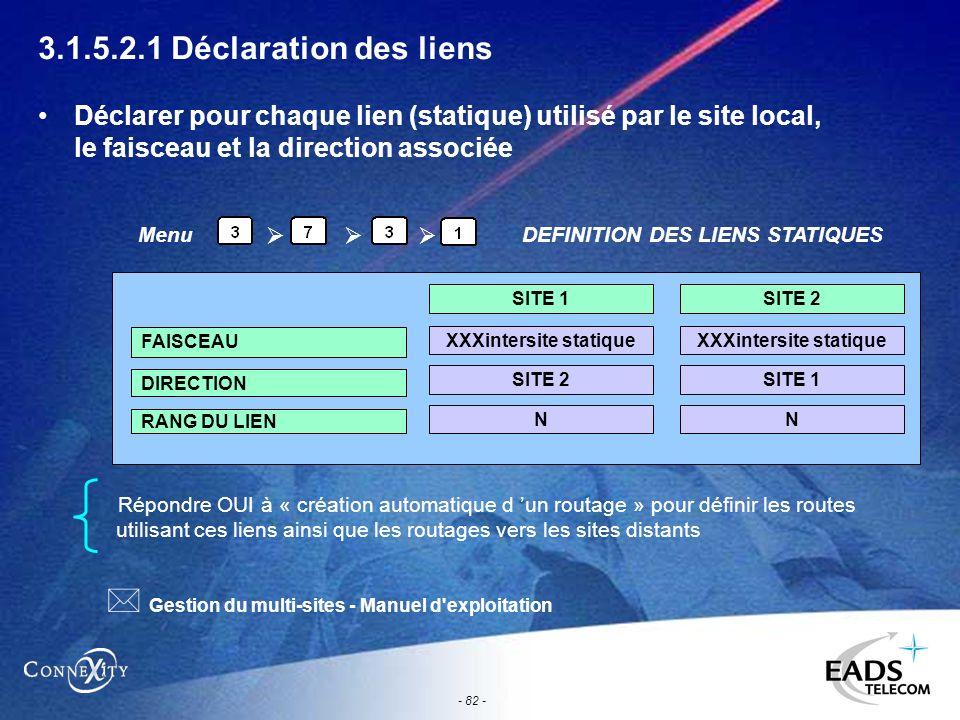 - 82 - 3.1.5.2.1 Déclaration des liens Déclarer pour chaque lien (statique) utilisé par le site local, le faisceau et la direction associée Répondre O