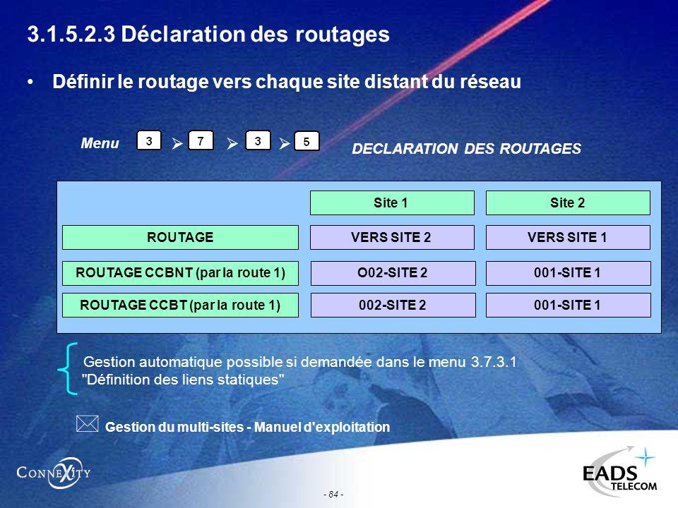 - 84 - 3.1.5.2.3 Déclaration des routages Définir le routage vers chaque site distant du réseau Gestion automatique possible si demandée dans le menu