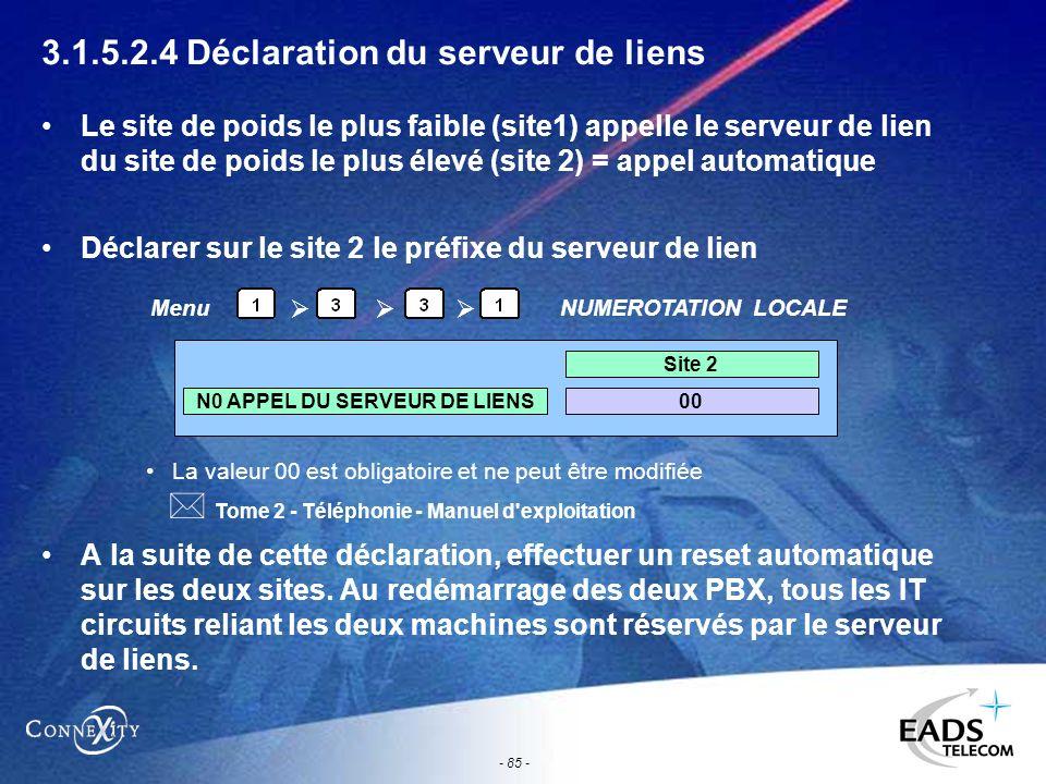 - 85 - 3.1.5.2.4 Déclaration du serveur de liens Le site de poids le plus faible (site1) appelle le serveur de lien du site de poids le plus élevé (si