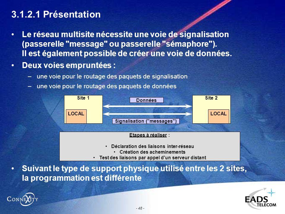 - 48 - 3.1.2.1 Présentation Le réseau multisite nécessite une voie de signalisation (passerelle