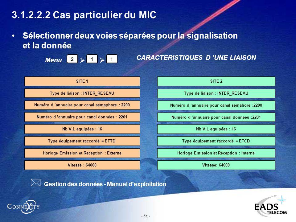 - 51 - 3.1.2.2.2 Cas particulier du MIC Sélectionner deux voies séparées pour la signalisation et la donnée Menu CARACTERISTIQUES D UNE LIAISON Numéro