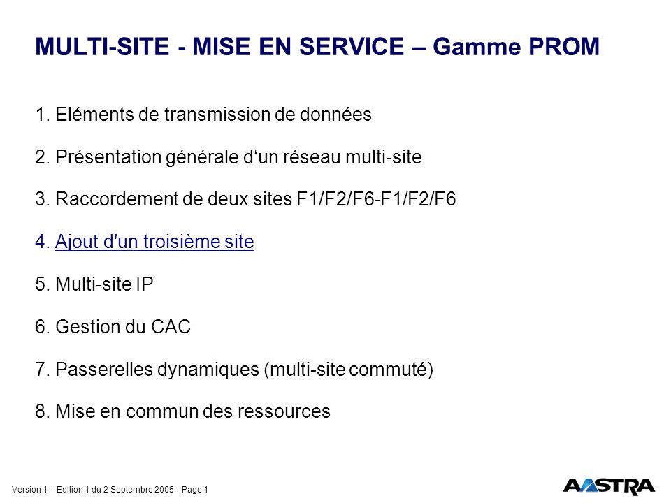 Version 1 – Edition 1 du 2 Septembre 2005 – Page 1 MULTI-SITE - MISE EN SERVICE – Gamme PROM 1. Eléments de transmission de données 2. Présentation gé