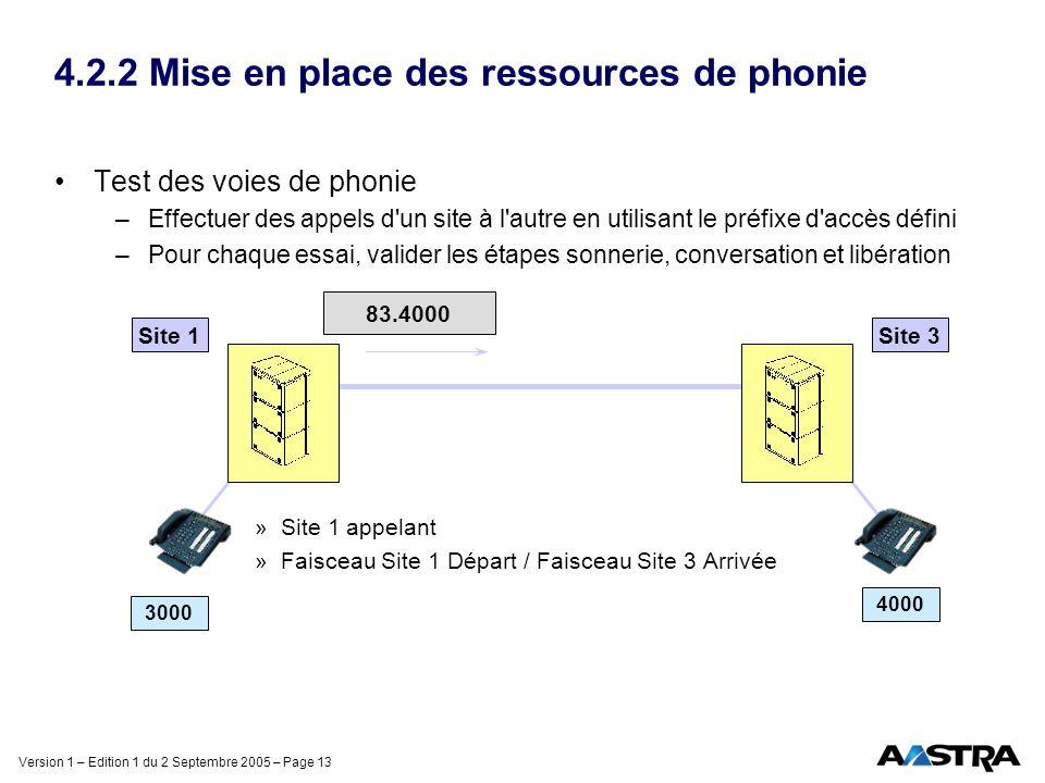 Version 1 – Edition 1 du 2 Septembre 2005 – Page 13 4.2.2 Mise en place des ressources de phonie Test des voies de phonie –Effectuer des appels d'un s