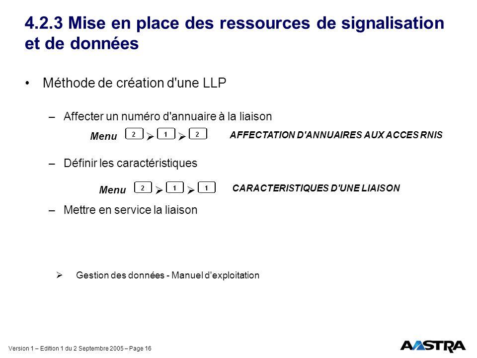 Version 1 – Edition 1 du 2 Septembre 2005 – Page 16 4.2.3 Mise en place des ressources de signalisation et de données Méthode de création d'une LLP –A