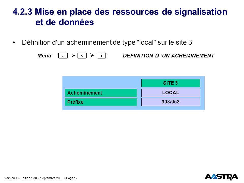 Version 1 – Edition 1 du 2 Septembre 2005 – Page 17 4.2.3 Mise en place des ressources de signalisation et de données Définition d'un acheminement de