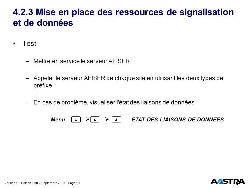 Version 1 – Edition 1 du 2 Septembre 2005 – Page 19 4.2.3 Mise en place des ressources de signalisation et de données Test –Mettre en service le serve