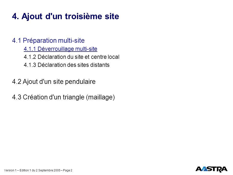 Version 1 – Edition 1 du 2 Septembre 2005 – Page 2 4. Ajout d'un troisième site 4.1 Préparation multi-site 4.1.1 Déverrouillage multi-site 4.1.2 Décla