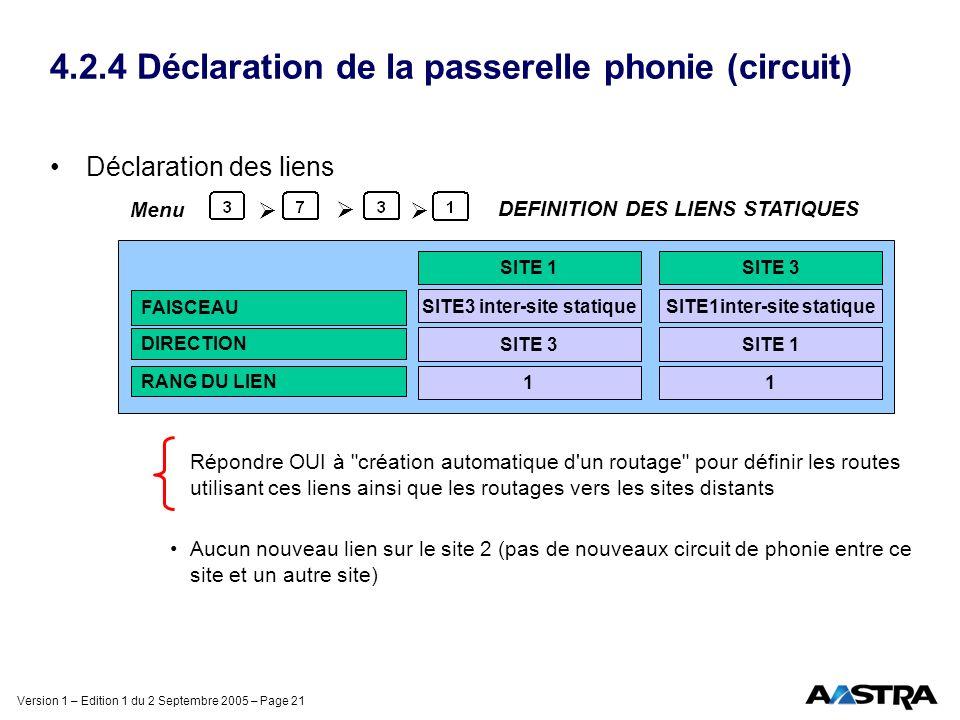 Version 1 – Edition 1 du 2 Septembre 2005 – Page 21 4.2.4 Déclaration de la passerelle phonie (circuit) Déclaration des liens Répondre OUI à