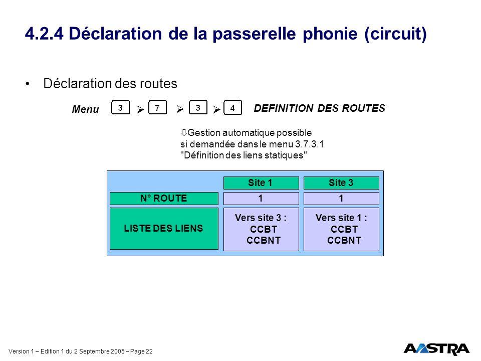 Version 1 – Edition 1 du 2 Septembre 2005 – Page 22 4.2.4 Déclaration de la passerelle phonie (circuit) Déclaration des routes DEFINITION DES ROUTES M