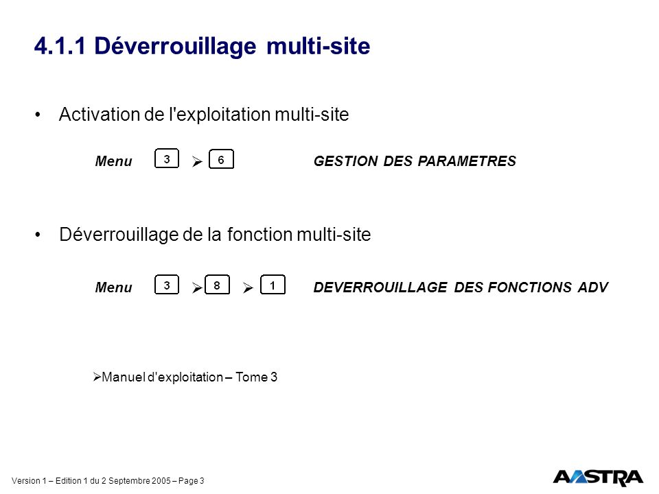 Version 1 – Edition 1 du 2 Septembre 2005 – Page 3 4.1.1 Déverrouillage multi-site Activation de l exploitation multi-site Déverrouillage de la fonction multi-site Menu GESTION DES PARAMETRES Menu DEVERROUILLAGE DES FONCTIONS ADV Manuel d exploitation – Tome 3