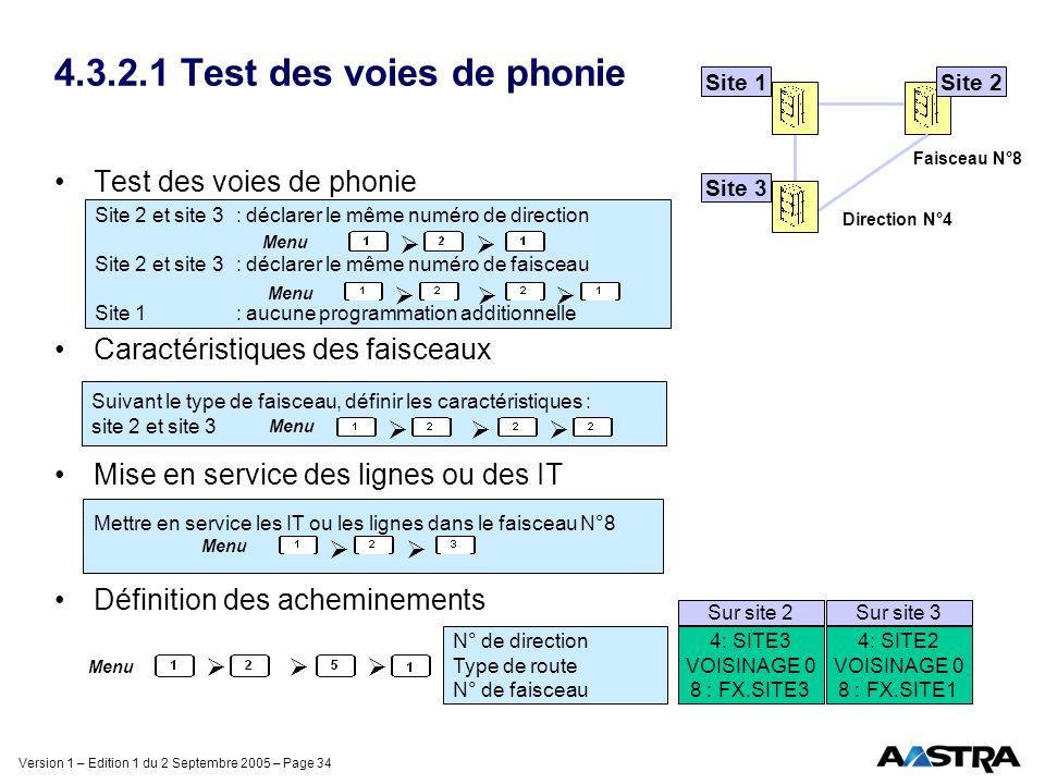 Version 1 – Edition 1 du 2 Septembre 2005 – Page 34 4.3.2.1 Test des voies de phonie Test des voies de phonie Caractéristiques des faisceaux Mise en s