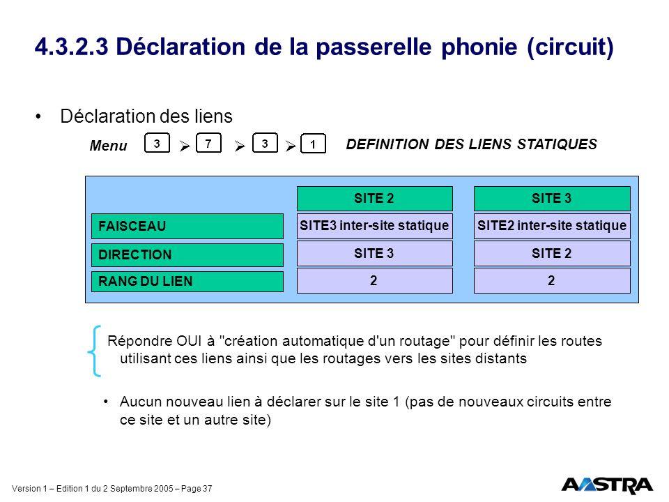 Version 1 – Edition 1 du 2 Septembre 2005 – Page 37 4.3.2.3 Déclaration de la passerelle phonie (circuit) Déclaration des liens Répondre OUI à