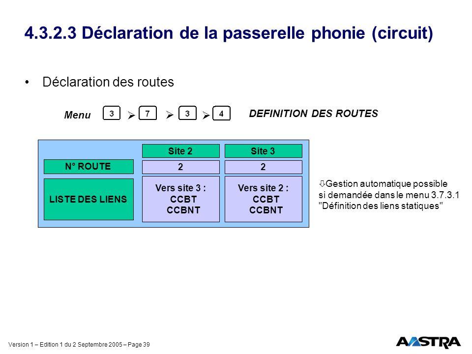 Version 1 – Edition 1 du 2 Septembre 2005 – Page 39 4.3.2.3 Déclaration de la passerelle phonie (circuit) Déclaration des routes DEFINITION DES ROUTES
