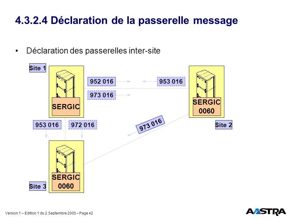 Version 1 – Edition 1 du 2 Septembre 2005 – Page 42 4.3.2.4 Déclaration de la passerelle message Déclaration des passerelles inter-site 953 016 Site 1